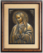 DISCONTINUED - Framed Our Lady of Guadalupe - 3D - Bronze Color
