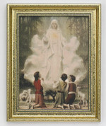 Our Lady of Fatima Framed Print Gold Painted Wood Frame measures 11 and one hal by 14 inches JB4111078