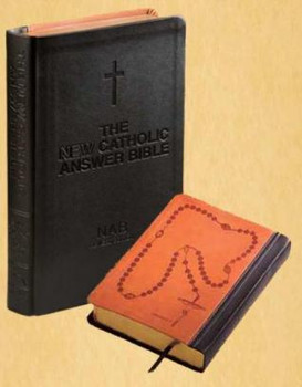 The New Catholic Answer Bible Librosario NABRE Black & Tan measures 10 by 7 and 1 third by 1 and 3 quarter inches 9781556654039