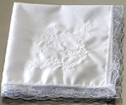 First Communion Handkerchief White made of poly cotton blend with Embroidered Lace Edge measures ten and 1 half inches RO41067