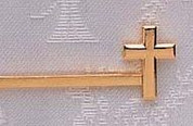 Tie Bar with Cross accent made of Gold Plated Metal measures 1 and 1 half inches RO17931