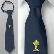 First Communion Navy Tie with Gold Chalice