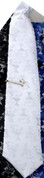 First Communion White Polyester Nylon Blend Damask Pre-Knotted tie measuring 12 inches and Gold-Plated Metal Bar measuring 1 and 1 half inches RO65250