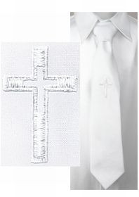 First Communion White Tie Embroidered Cross measures 14 inches ZCA530EC