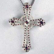 Pectoral Cross - Silver Plated Celtic Cross with Amethyst Colored Glass Stones