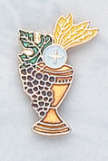 Blessed Sacrament with Grapes and Wheat Lapel Pin for First Communion DV3121
