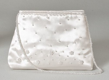 First Communion Purse Made of Satin-Look Polyester with White Bead Accents measures 5 by 7 by 2 inches with eight inch pearl string handle RO91160