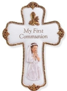 First Communion Wall Cross With Praying Girl made of Resin with Gold Accents 8 inches RO41499