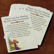 Thank You For Sharing First Communion Thank You Card  measures 2 and 1 half by 3 and 1 half inches AB31176