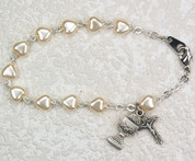 Blessed Sacrament & Crucifix Bracelet | First Communion | Antique Pearl Hearts