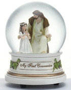 Jesus With girl Musical Figurine and Glitter Dome measures 5 and 1 half inches tall and plays the Lord's Prayer Melody RO41509