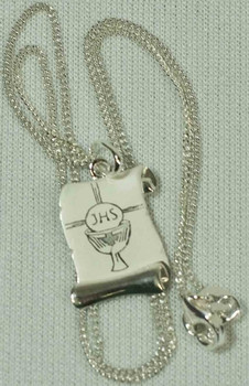 pendant p sj htm holy medal colon necklace first communion religious frist sterling silver