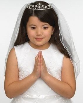 First Communion Veil Tiara Style rhinestone flower Headpiece with rolled Edge with Length of 23 inches RO65391