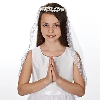 First Communion Veil tiara style with pearl and rhinestone flowers on veil with lace edge measures 26 inches RO65394