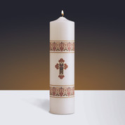 Coronation Christ Candle White with ornate bands and cross Appliqué on Stearine measures 3 inches x 12 inches WB75346