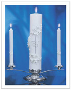 Wedding Unity Candle Set - Holy Matrimony - Silver/White