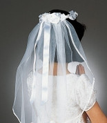 First Communion Veil with satin ribbon wreath headdress and ribbon Edge measures 22 inches RO92024