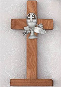 standing Communion Cross Walnut wood with Pewter Blessed Sacrament Medallion measures 6 inches MA7528