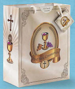 Chalice Grapes & Wheat | First Communion Gift Bag | 2 Sizes | Gold & Ivory