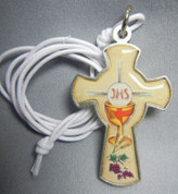 Blessed Sacrament Cross Pendant made of metal with Enamel measures 2 inches from Italy LALG066DENGLISH