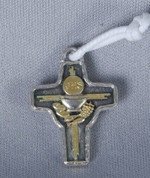 Blessed Sacrament Cross Pendant on White Cord Silver & Gold finished pewter measures one inch made in italy LALG134