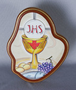 Blessed Sacrament Plaque Made of laser cut  Wood on Metal Base measures 5 inches tall from Italy LAL49184