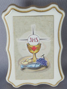 Blessed Sacrament Plaque made of fiberboard measures 2 and 1 half by 3 and 1 half inches from Italy LAL267