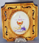 Blessed Sacrament Plaque Made of laser cut  Wood on Metal Base measures 2 inches tall from Italy LAL341COM