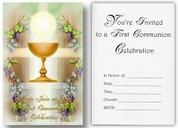 "Blessed Sacrament & Grapes  | First Communion Invitation | 3-1/4"" x 5"" 
