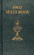 First Mass Book with Personal Record Page and Order of Mass and Life of Christ In Pictures and Daily Prayers Black 95 Pages measures 4 by 5 and 3 quarters inches 9780899428086 CB80867B