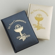 My First Communion Missal and Prayer Book soft black With Gold Embossing and ribbon marker measures 5 by 3 and 1 half inches RO10278