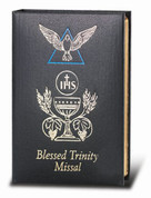 Blessed Trinity Missal black leather hardcover by doctor Kelly Bowring 184 Pages Color Illustrations measures 5 and 1 quarter by 3 and 3 quarters inches HI2639