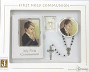 First Holy Communion 4 Piece Piece Gift Set for a boy Includes missal pin black beaded rosary and rosary case RO41478