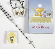 Communion Set with First Mass Book and Black Rosary and Brown Scapular and Blessed Sacrament Pin in Vinyl holder measuring 4 and 1 half by 6 and seven eighths inches CB80854B