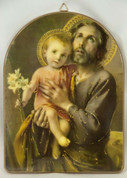 "St Joseph and Child - Wood - Size 6.75"" x 9"""