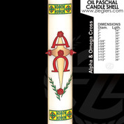 Alpha and Omega Cross Oil Paschal Candle with alpha and omega letters LNB