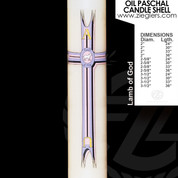 Lamb of God and cross Oil Paschal Candle with alpha and omega letters LND
