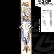 Risen Christ Oil Paschal Candle with alpha and omega letters LNE