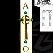 Brass Celtic Cross Oil Paschal Candle with alpha and omega letters LNF