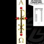 Brass Chi Rho symbol Oil Paschal Candle with alpha and omega letters LNG