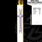 Lamb of God Refillable Paschal Candle with alpha and omega letters includes a brass follower LNRD