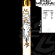 Risen Christ Refillable Paschal Candle with alpha and omega letters includes a brass follower LNRE