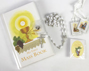 Communion Set with First Mass Book and Black Rosary and Brown Scapular and Blessed Sacrament Pin in Vinyl holder measuring 4 and 1 half by 6 and seven eighths inches CB80854G