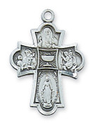 Four Way Medal Necklace First Communion Sterling Medal Cross measures 1 inch with 18 inch rhodium plated brass chain MAL573