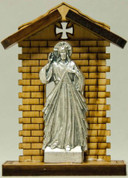 Statue | Divine Mercy | Pewter and Wood