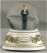Standing Boy Musical Figurine Glitter Dome Measures 5 and 1 half inches tall and Plays Lord's Prayer Melody RO47749