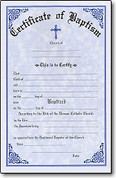 Baptismal Forms Certificate - Style #314