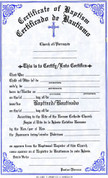 Baptismal Forms Certificate - Bilingual - Style #314S