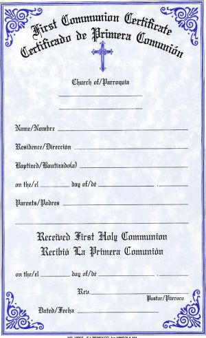 first communion certificate bilingual style 180 fc