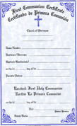 First Communion Certificate - Bilingual - Style #180
